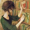 zlabya: Young slim white woman in checked dress removing a book from a bookshelf. (Librarian)
