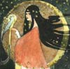 zlabya: Young white woman with dark hair silhouetted by crescent moon and holding a tropical bird. (Priestess)