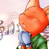 zlabya: drawing of small fox, face in profile, wearing mittens. Music notes at left. (MusicFoxChild)