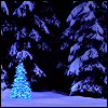kabal42: A christmas tree lit up with blue lights, standing alone in a snowy landscape, a dark forrest as background (Seasonal - Christmas tree)