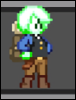 saintmonster: A pixel green person in western clothing. Very smol.  Very cute. (novakid, starbound)