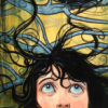 daughtercell: Yellow background with blue tree limbs visible; black-haired girl looking skyward with tendrils of hair floating above (Janelle shock)