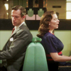 veleda_k: Peggy and Jarvis from Agent Carter sitting back to back (MCU: Peggy and Jarvis)