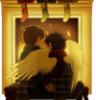 lilyleia78: Dean and Cas with wings in front of a fireplace hung with three stockings (Supernatural: Christmas)