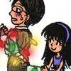 suzume: A girl tying a man up with Christmas lights (While color lights up your face)
