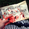 "mortalcity: A bloodstained note reading ""Come now, Alice. It's only a dream."" (BW 