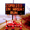 """elaineofshalott: A road sign reads, """"ZOMBIES IN AREA! RUN"""" (zombie alert)"""