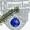 shyfoxling: blue Christmas tree bauble in front of Ravenclaw house shield (seasonal yule (ornament))