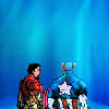 muccamukk: Steve and Tony standing side by side looking into a blue background. (Marvel: Into the Blue)