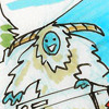 were_duck: Pen cartoon of a snow yeti happily playing a keyboard (Dewees the Yeti)